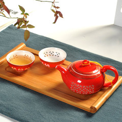 Red Honeycomb Tea Set